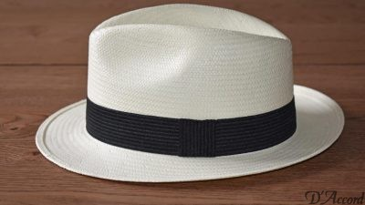 Men's Authentic Panama Hat Black Band D'Accord 1005
