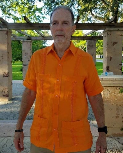 Men's Cuban Guayabera 100% Linen Orange D'Accord 2263