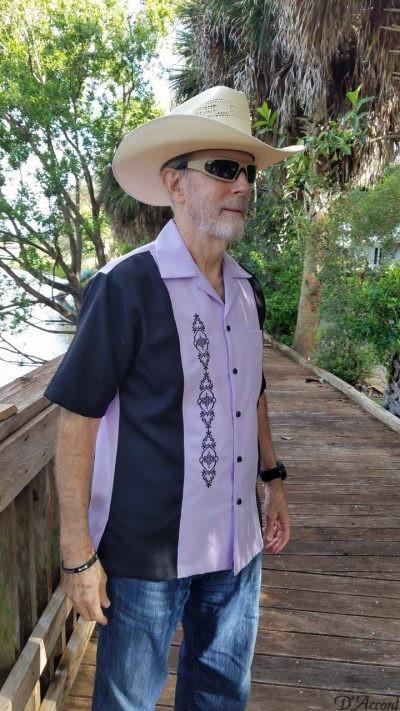 Men's Cuban Collar Shirt Retro Bowling Shirt Lavender Micro Fiber Embroidered D'Accord 5878