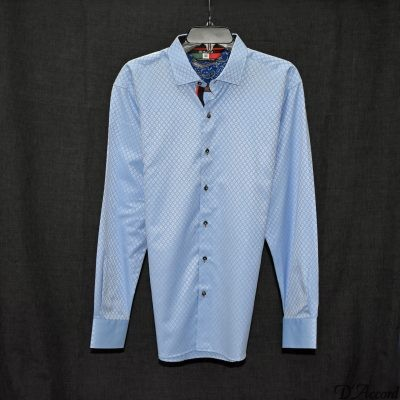 Men's Long Sleeve Dress Shirt Blue D'Accord Fine 100% Cotton 4101