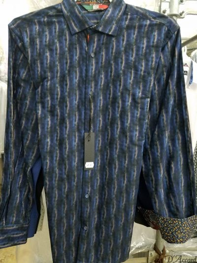 Men's Long Sleeve Dress Shirt Navy D'Accord Fine 100% Cotton 4510