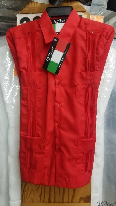 Kids Red Cuban Guayabera D'Accord 2314 Medium Only