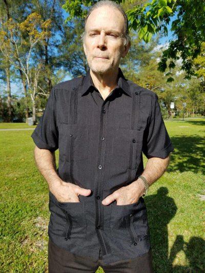 Men's Authentic Cuban Guayabera Shirt Micro Fiber Linen Look Black D'Accord 2440