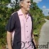 Cuban Retro Shirt Men's Casual Shirt Pink Embroidered Made in Miami USA D'Accord 5009