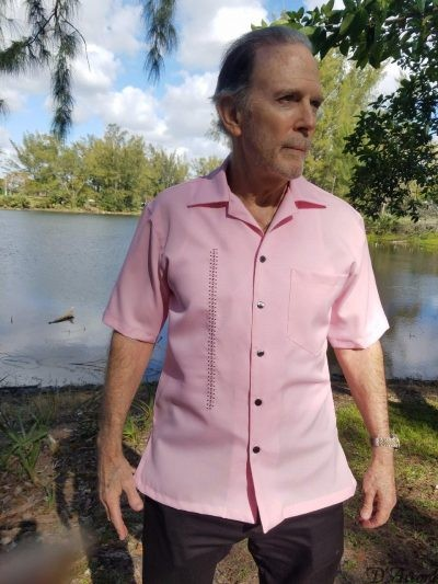 Men's Cuban Collar Casual Retro Shirt Pink Micro Fiber 5974 D'Accord