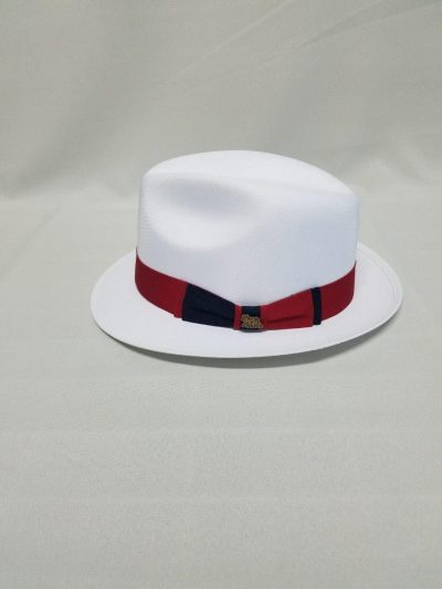 Men's Authentic Linen Panama Hat Fedora White Red Band D'Accord 1008