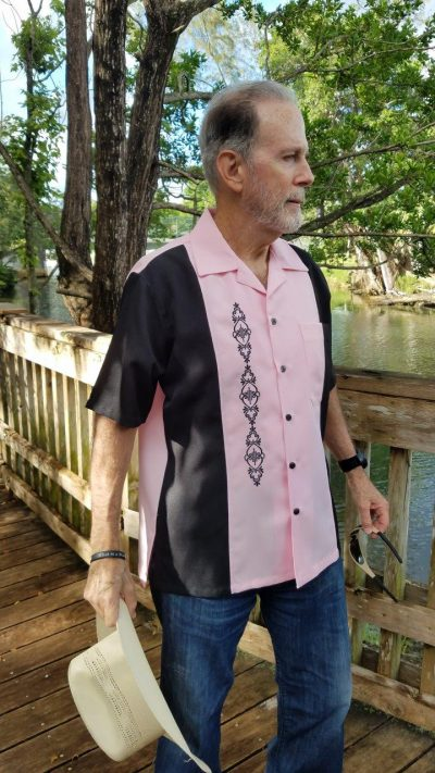 Men's Cuban Collar Retro Shirt Embroidered Front D'Accord 5031