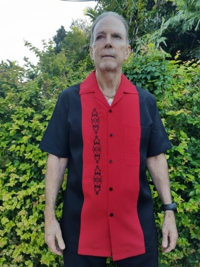 Men's Cuban Retro Shirt Black Red Embroidered 5878