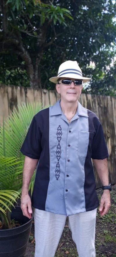 Cuban Shirt Retro Shirt Men's Cuban Casual Shirt Black Grey Embroidered USA D'Accord 5878