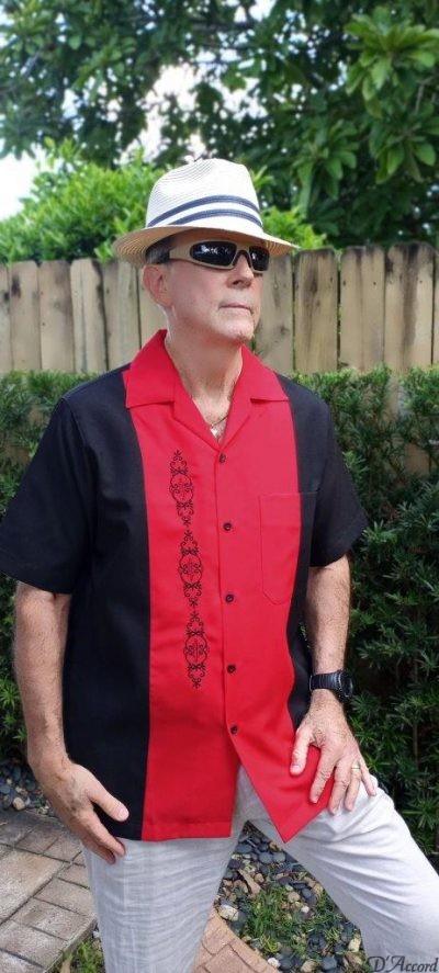 Cuban Shirt Retro Shirt Men's Cuban Casual Shirt Black Red Embroidered USA D'Accord 5878