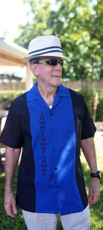 Cuban Shirt Retro Shirt Men's Cuban Casual Shirt Black Royal Embroidered USA D'Accord 5878