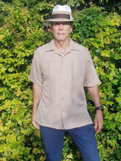 Men's Cuban Retro Shirt Beige Linen Look Embroidered Shirt D'Accord 5976
