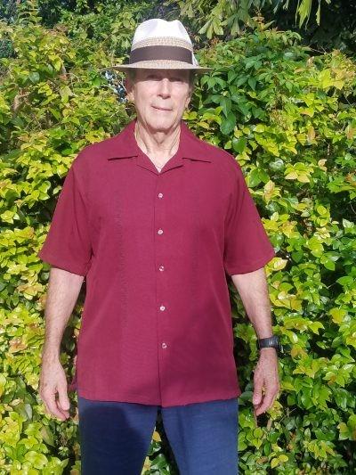 Men's Cuban Collar Casual Retro Shirt Embroidered Burgundy D'Accord 5976.