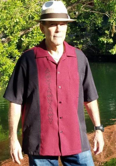 Cuban Shirt Retro Shirt Men's Cuban Casual Shirt Black Pink Embroidered USA D'Accord 5878